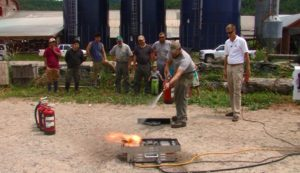 This type of hands-on fire extinguisher training is the best way to train farm employees.